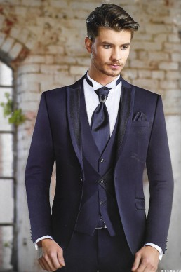 Suit blue double vest