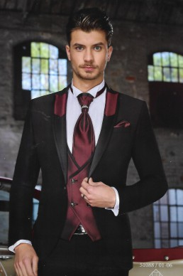 suit black with bordeaux vest and yaka